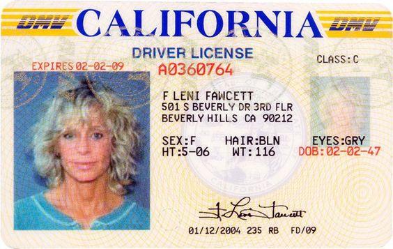 Farah Fawcett's celebrity driver's license