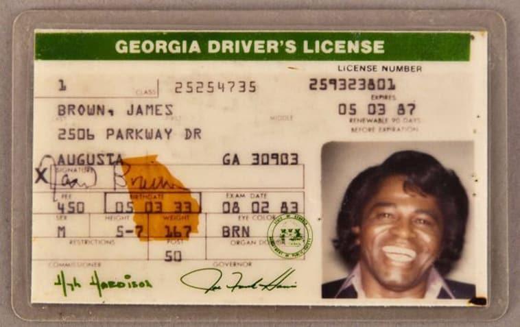 James Brown celebrity driver's license