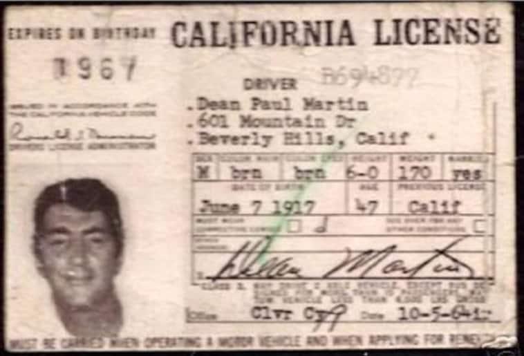 Dean Martin's celebrity driver's license