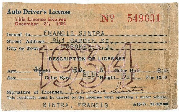 Frank Sinatra's driver's license