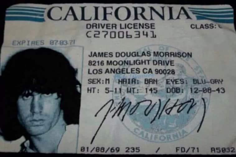 Jim MOrrison's driver's license