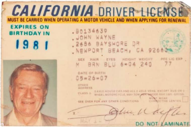 John Wayne's driver's license