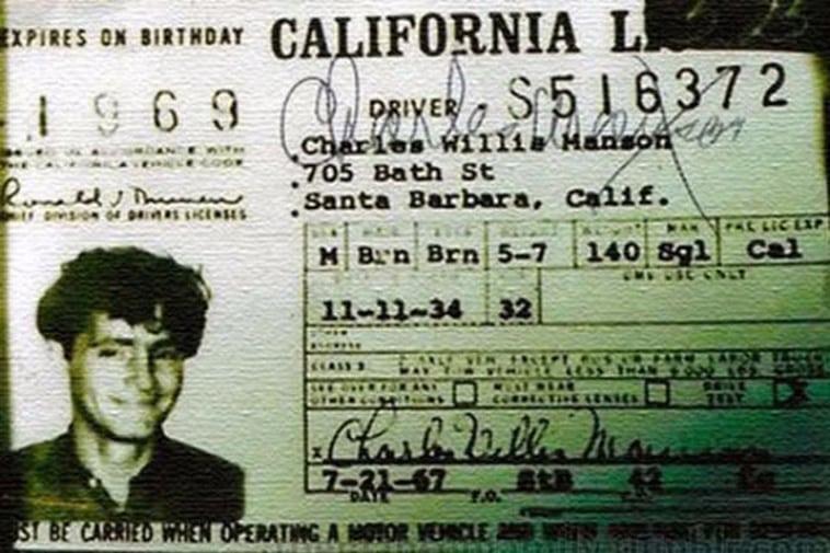 Charles Manson's celebrity driver's license