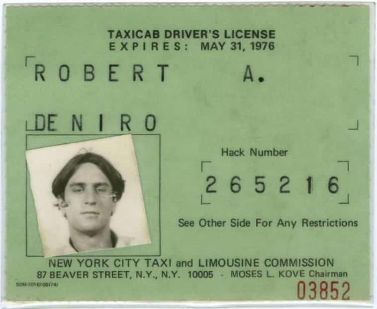Robert De Niro's taxi license
