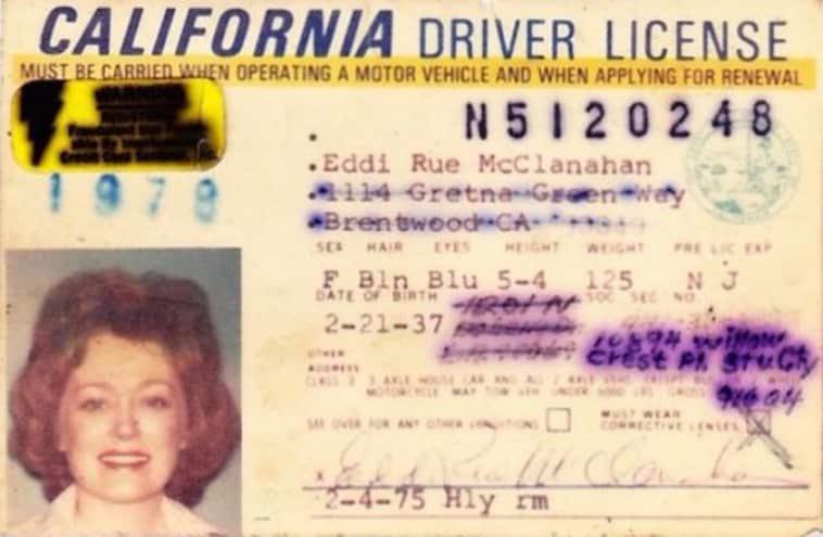 Eddi Rue McClanahan celebrity driver's license