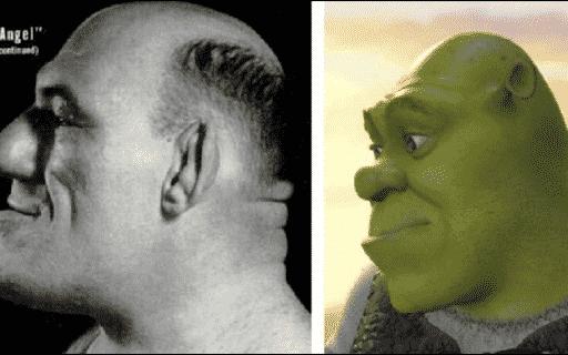Side by side of Maurice Tillet and Shrek